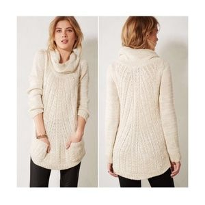 Anthropologie Guinevere Cable Knit Cowl Sweater